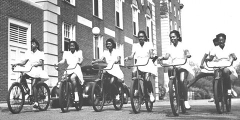 Howard University Students bicycle riding1949