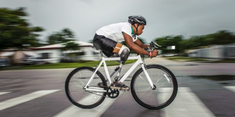 Moise Brutus, black cyclist, triple amputee