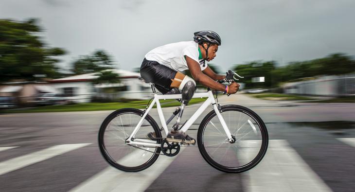 Moise Brutus, black cyclist, triple amputee